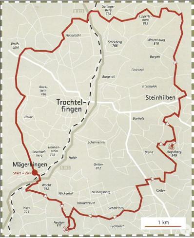 Plan mit der Tour zum Augstbergturm für sportliche Radler